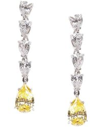 Fantasia by Deserio - Sterling Silver & Palladium Petite Pearshape Canary Drop Earrings - Lyst