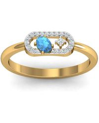 Diamoire Jewels - 18kt Yellow Gold Pave 0.07ct Diamond Infinity Ring With Aquamarine - Lyst