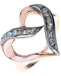 LÁTELITA London - Diamond Large Open Heart Rose Gold Ring - Lyst