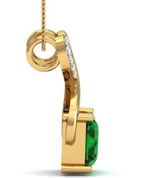 Diamoire Jewels Nature Inspired Prong Set Brazilian Emerald and Diamond Pendant in 10kt Yellow Gold 14SNN0K4Py