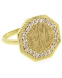 Emily & Ashley - Monogram Octagon Ring With Diamonds - Lyst