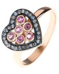 LÁTELITA London - Diamond Heart Pink Tourmaline Ring - Lyst