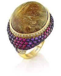 Niquesa Fine Jewellery - Venice Pulcinella Golden Rutile Quartz Cocktail Ring - Lyst