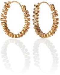 Karen Fox - Gold Circle Ruffle Earrings - Lyst