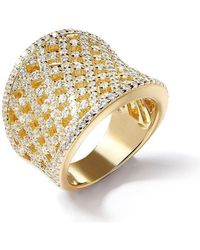 Lustre of London - Yellow Lattice Curve Ring - Lyst