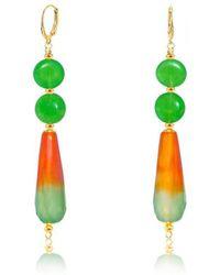 Regenz - Duality Fire Agate & Jade Drop 10kt Gold Earrings - Lyst