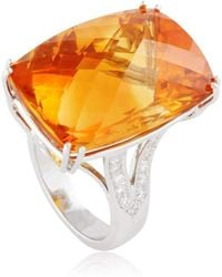 Cherie Thum - Fire And Ice Rectangular Cushion Madeira Citrine Ring - Lyst