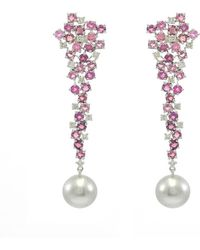 Ri Noor - Cascading Tourmaline And Diamond Earrings With Tahitian Pearl - Lyst
