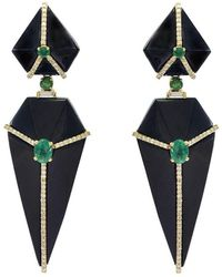 Ri Noor - Cubist Onyx Earrings With Emeralds And Diamonds - Lyst