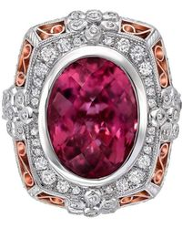 "Dallas Prince Designs - ""fuchsia"" Secret Garden Ring With Pink Rubellite Tourmaline And Diamonds - Lyst"