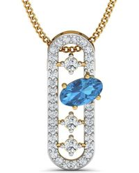 Diamoire Jewels - Nature Inspired Oval Aquamarine Pendant With Premium Diamonds In 10kt Yellow Gold - Lyst