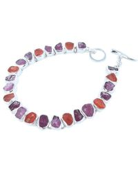 Reeves and Reeves - Rough Tourmaline, Ruby And Carnelian Bracelet - Lyst