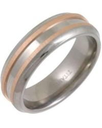 Star Wedding Rings - Titanium And 9kt Rose Gold Inlay Flat Court Shape Matt Embossed Ring - Lyst
