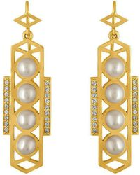 Amy Glaswand - Cosmo Pearl Earrings - Lyst