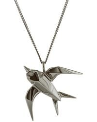 Origami Jewellery - Black Silver Swallow Origami Necklace - Lyst