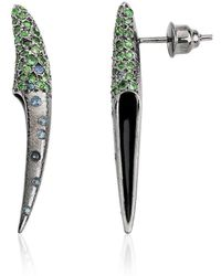 Suciyan - Small Sterling Silver Feather Tsavorite And Sapphire Earrings - Lyst