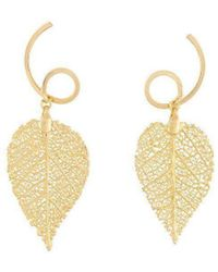 Amazona Secrets - 18kt Gold Drop Shape Arabesque Savannah Leaf Earrings - Lyst