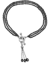 London Road Jewellery - Exclusive 3 Row Black Diamond Bracelet With Tassel - Lyst