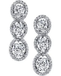 Harry Kotlar - Kotlar Cushion Three-stone Pave Drop Earrings - Lyst