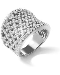 Lustre of London - White Lattice Curve Ring - Lyst