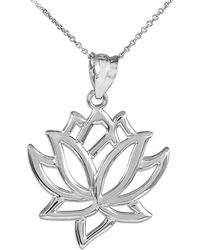QP Jewellers - Lotus Flower Pendant Necklace In Sterling Silver - Lyst