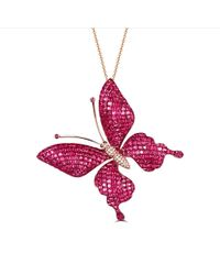 SILVER YULAN Ruby-sapphire Butterfly Necklace-brooch