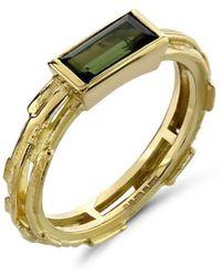 Karen Phillips - 18kt Yellow Gold Elegant Green Tourmaline Ring - Lyst