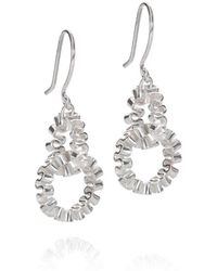 Karen Fox - Silver Circle Ruffle Link Earrings - Lyst