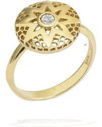 Rosmundo - Sun Ring In Yellow Gold With Diamond - Lyst