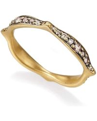 Anahita Jewelry - 18kt Yellow Gold Stack Wave Ring Set With Brown Diamonds - Lyst