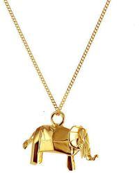 Origami Jewellery - Mini Elephant Necklace Gold - Lyst