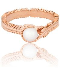 Vurchoo Caleb Floral Rose Gold Vermeil And Pearl Ring