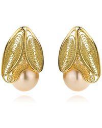 AMMA Jewelry - Gold Filigree & Myanmar Pearl White Butterfly Earrings | - Lyst