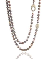 ClonferoDaPonte - Sterling Silver Pearl Dark Grey Knotted Diamond Clasp & Egg Necklace - Lyst