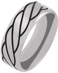 Prism Design - Titanium And Black Rope Ring (8mm) - Lyst