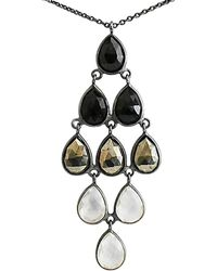 Shimmer by Cindy - Oxidised Sterling Silver Ombre Necklace With Hematite & Crystal Quartz - Lyst