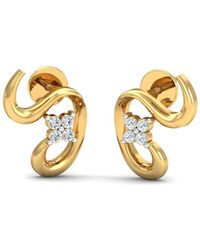 Diamoire Jewels 18kt Yellow Gold 0.08ct Pave Diamond Infinity Earrings III Oani9FL