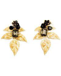 Pats Jewelry - Brass & Black Glass Camellia Leaf Earrings - Lyst