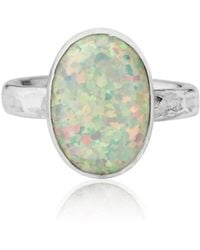 Lavan - Silver Hammered White Opal Ring - Lyst