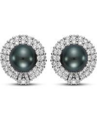 Isaac Westman - Black Tahitian Pearl And Diamond Earrings - 18mm - Lyst
