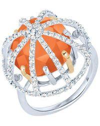 Arya Esha - Gold, Carnelian & Diamond Cage Ring | - Lyst