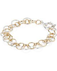 Lavan - Handmade Silver And Gold Tri Colour Links Bracelet - Lyst