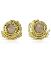 Karen Phillips - 18kt Yellow Gold Raw Diamond Whirl Earrings - Lyst