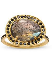 Liz Phillips - Delilah Labradorite And Black Diamond Ring - Lyst
