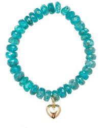 Heather Kenealy Jewelry - Apatite Bracelet With Heart Charm - Lyst