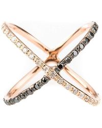 Oh my Christine Jewelry - Black And White Diamond X Ring - Lyst