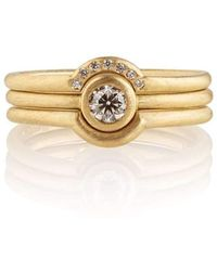 Shakti Ellenwood Trinity 18kt Fairtrade Gold and Diamond Rings - UK U - US 10 1/4 - EU 62 3/4 - Yellow qghdJFilo2