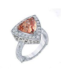 "Dallas Prince Designs - ""tesoro"" Ring With Rare Vivid Peach ""malaya"" Garnet And Diamonds - Lyst"