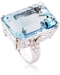 Cherie Thum - Fire And Ice Emerald-cut Aquamarine Ring - Lyst