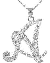 QP Jewellers | Cz Script Letter A Pendant Necklace In Sterling Silver | Lyst